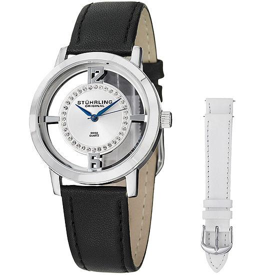 Stuhrling Mens Black Leather Strap Watch-Sp14652
