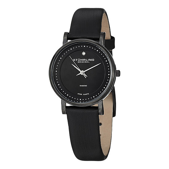 Stuhrling Womens Black Leather Strap Watch-Sp13078
