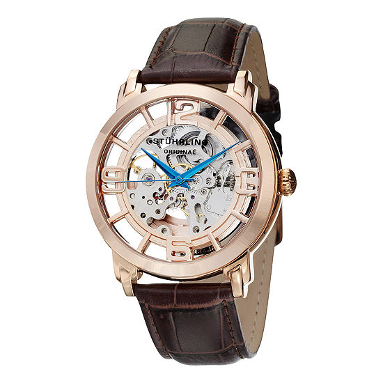 Stuhrling Mens Brown Leather Strap Watch-Sp11336