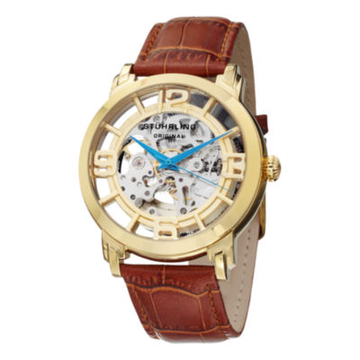 Stuhrling Mens Brown Strap Watch-Sp11335