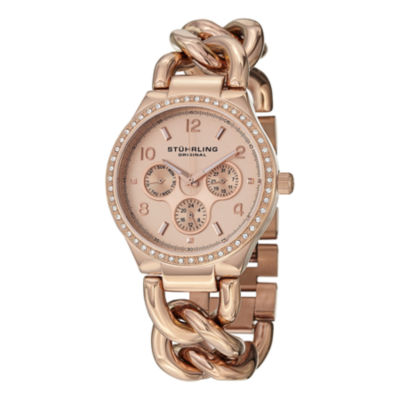Stuhrling Womens Rose Goldtone Bracelet Watch-Sp14838