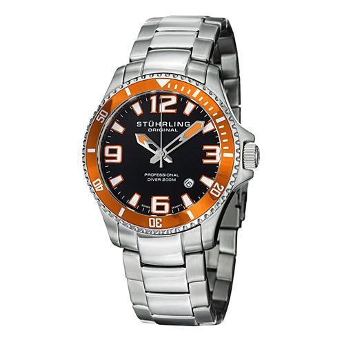 Stuhrling Mens Silver Tone Bracelet Watch-Sp12720