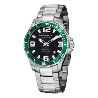Stuhrling Mens Silver Tone Bracelet Watch-Sp12721