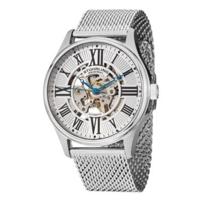 Stuhrling Mens Silver Tone Bracelet Watch-Sp13062