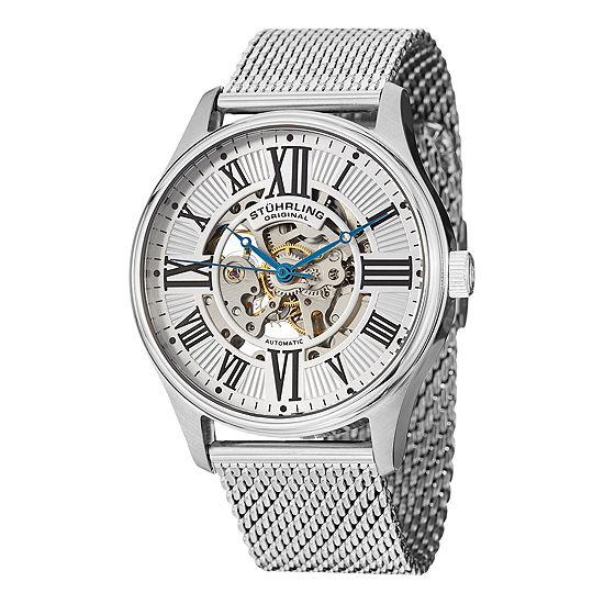 Stuhrling Mens Silver Tone Automatic Bracelet Watch-Sp13062