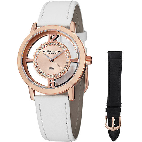 Stuhrling Womens Crystal Accent White Leather Strap Watch-Sp14654
