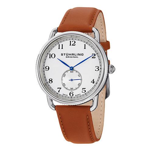 Stuhrling Mens Brown Strap Watch-Sp12921