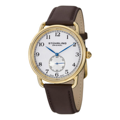 Stuhrling Mens Brown Strap Watch-Sp12923