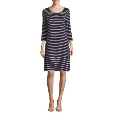 Madison Leigh Elbow Sleeve Stripe Swing Dress