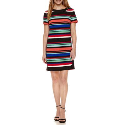 London Times Short Sleeve Stripe Shift Dress-Petites