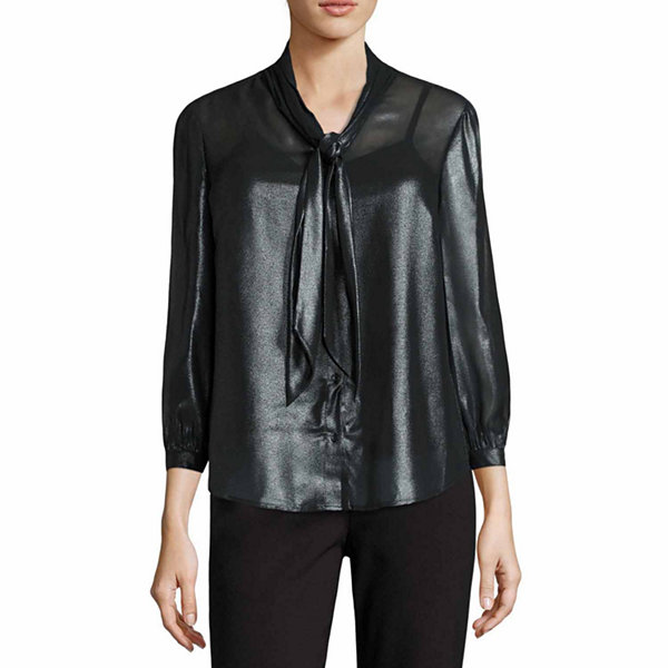Liz Claiborne Long Sleeve Y Neck Woven Blouse - Tall