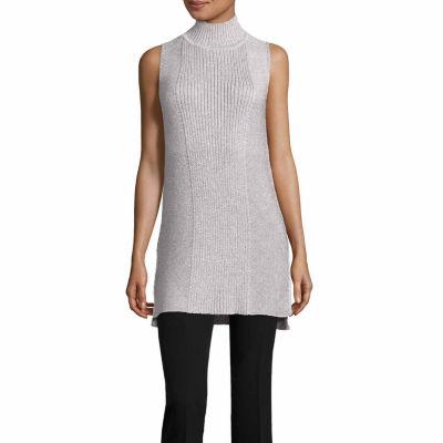 Worthington Sleeveless Mock Neck Pullover Sweater-Talls
