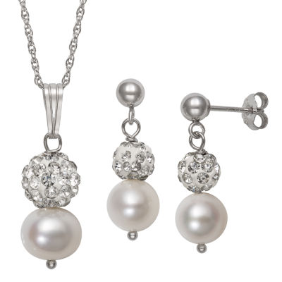 Womens 2-pack White Sterling Silver Jewelry Set
