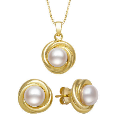 Womens 2-pc. White Pearl Gold Over Silver Jewelry Set