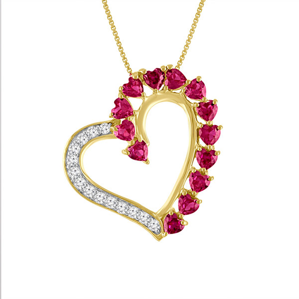 Lab-Created Ruby & White Sapphire 14K Gold Over Silver Heart Pendant Necklace