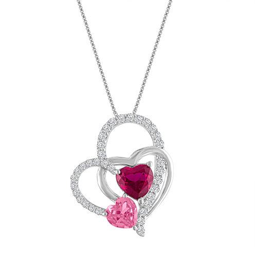 Lab-Created Ruby & Pink & White Sapphire Sterling Silver Interlocking Heart Pendant Necklace