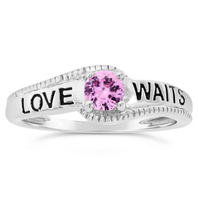 Womens Lab Created Pink Sapphire Sterling Silver Solitaire Cocktail Ring