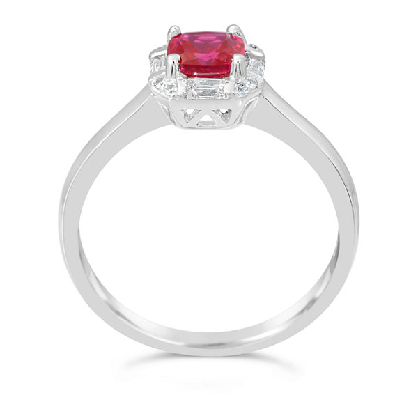 Womens Lab Created Red Ruby Solitare Ring in Sterling Silver