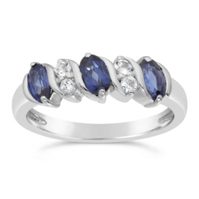 Womens Lab Created Blue Sapphire Sterling Silver Side Stone Cocktail Ring