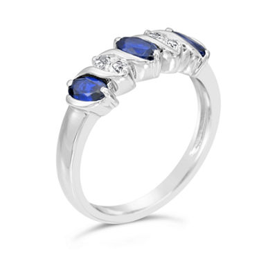 Womens Lab Created Blue Sapphire Sterling Silver Side Stone Ring