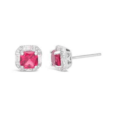 Princess Lab Created Ruby Sterling Silver Stud Earrings