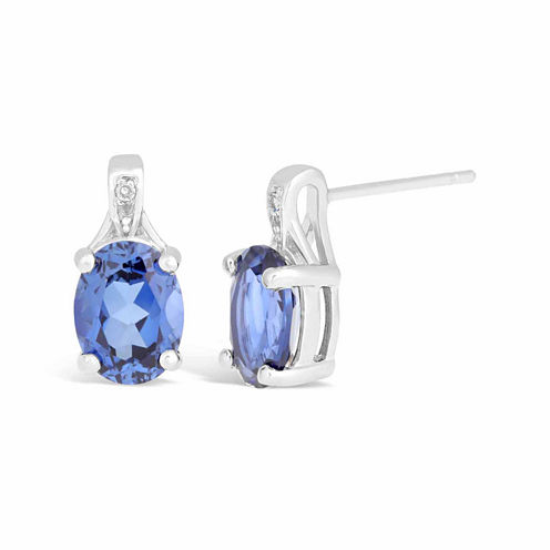 Diamond Accent Blue Sapphire Sterling Silver Drop Earrings