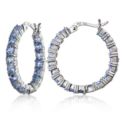 Genuine Blue Tanzanite Sterling Silver 26mm Hoop Earrings