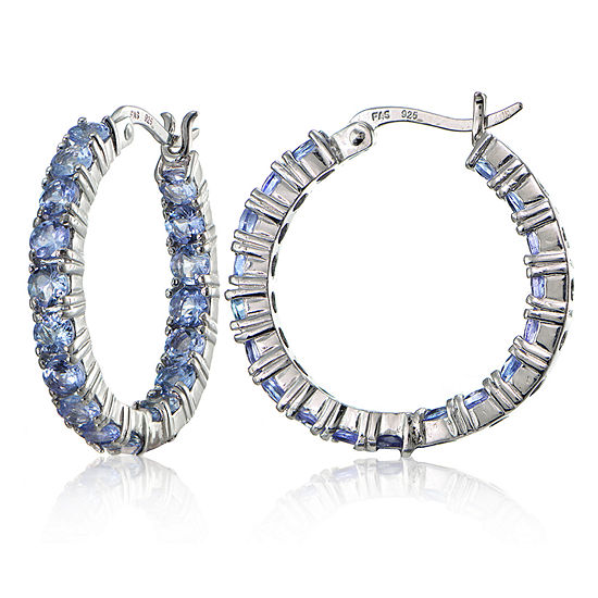 Genuine Blue Tanzanite 26mm Hoop Earrings