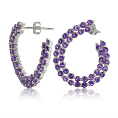 Purple Amethyst Sterling Silver Hoop Earrings