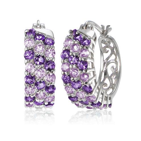 Fine Jewelery Purple Amethyst Sterling Silver Hoop Earrings