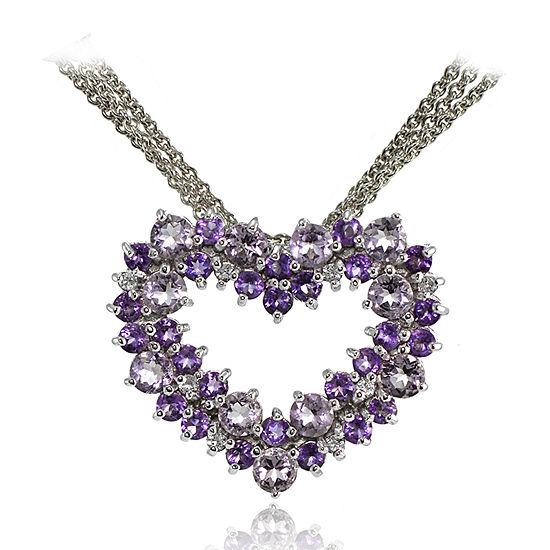 Womens Genuine Purple Amethyst Sterling Silver Heart Pendant Necklace