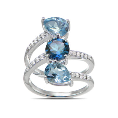 Womens Blue Blue Topaz Sterling Silver 3-Stone Ring