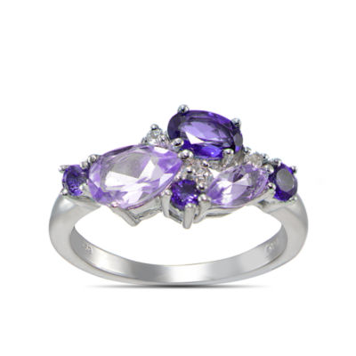 Womens Genuine Purple Amethyst Sterling Silver Cluster Ring