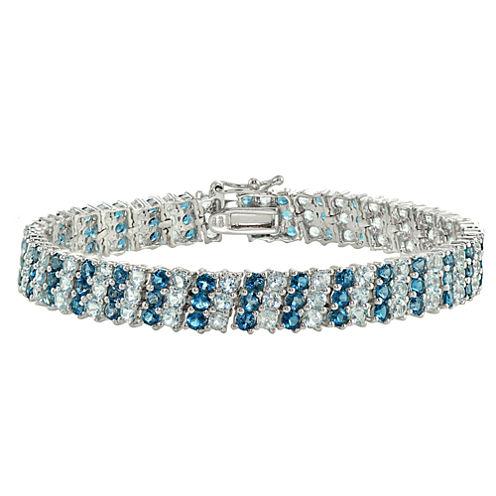 Womens 7.25 Inch Blue Topaz Sterling Silver Link Bracelet