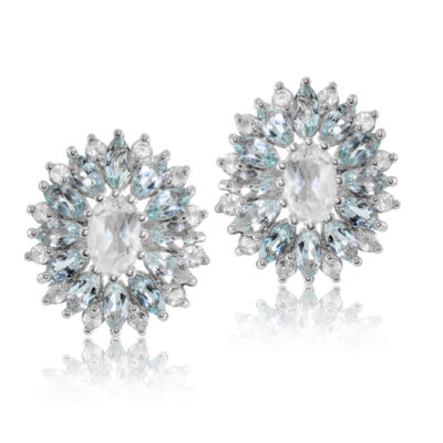 Genuine Blue Topaz Sterling Silver 16mm Stud Earrings