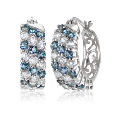 Fine Jewelry Blue Topaz Sterling Silver Hoop Earrings