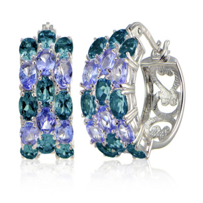 Fine Jewelery Blue Topaz Sterling Silver Hoop Earrings