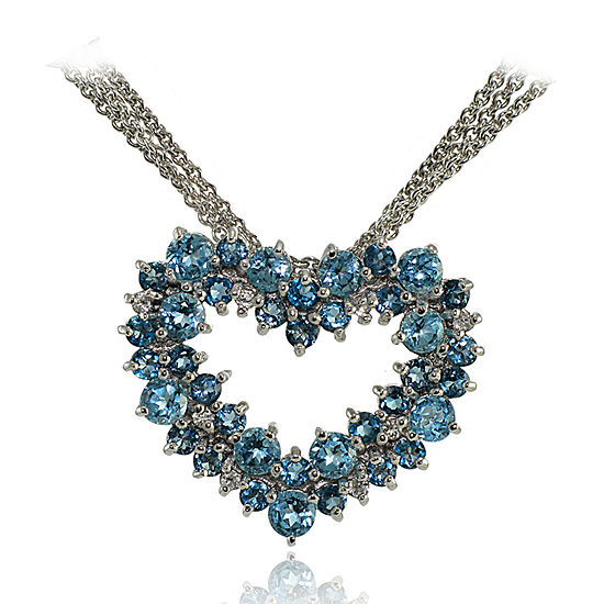 Womens Genuine Blue Topaz Sterling Silver Heart Pendant Necklace
