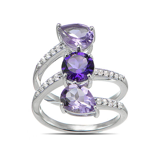 Womens Genuine Purple Amethyst 3-Stone Cocktail Ring