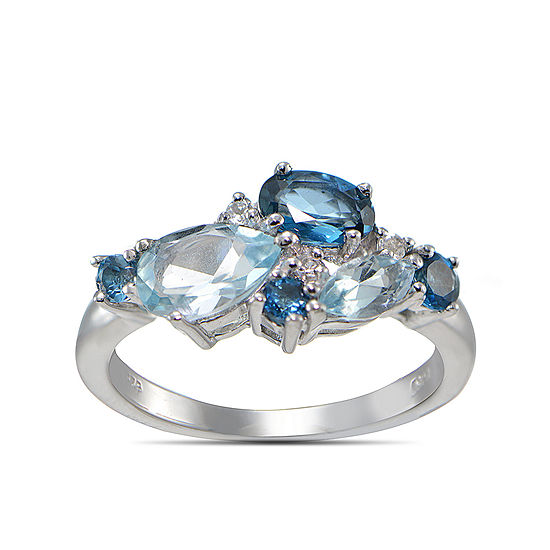 Womens Genuine Blue Topaz Sterling Silver Cluster Cocktail Ring