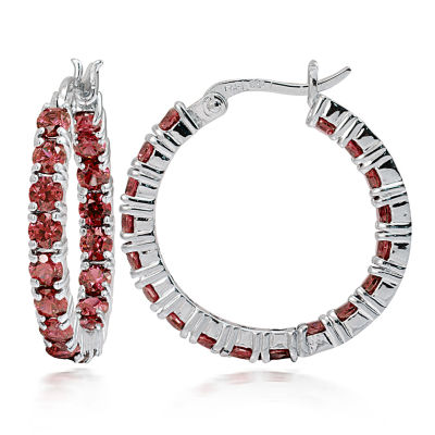 Fine Jewelery Red Garnet Sterling Silver Hoop Earrings