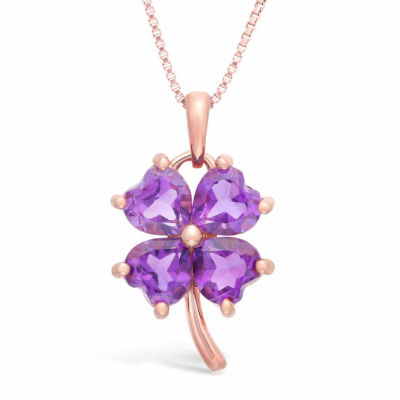 Womens Genuine Purple Amethyst 14K Gold Over Silver Flower Pendant Necklace