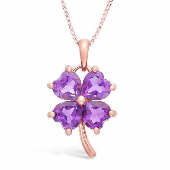 Womens Genuine Purple Amethyst 14K Gold Over Silver Flower Pendant Necklace