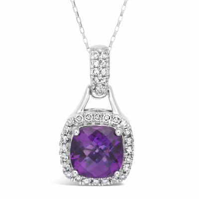 Womens 1/5 CT. T.W. Genuine Purple Amethyst 10K Gold Pendant Necklace