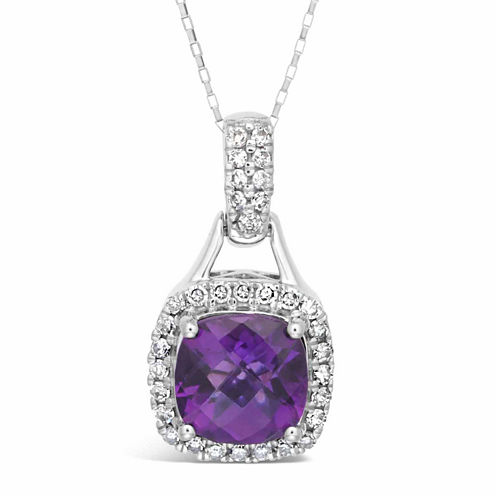 Womens 1/5 CT. T.W. Purple Amethyst 10K Gold Pendant Necklace