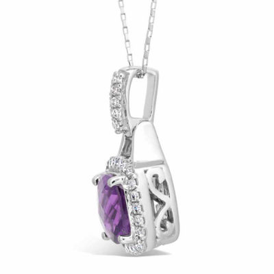 Womens 1/5 CT. T.W. Purple Amethyst 10K Gold Pendant Necklace