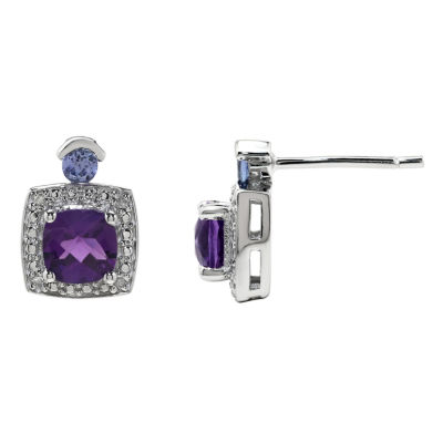 Diamond Accent Round Purple Amethyst Sterling Silver Stud Earrings