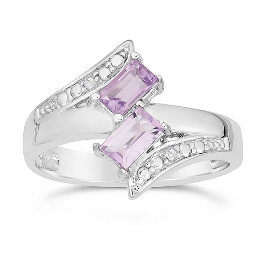 Womens Genuine Purple Amethyst Sterling Silver Bypass  Cocktail Ring