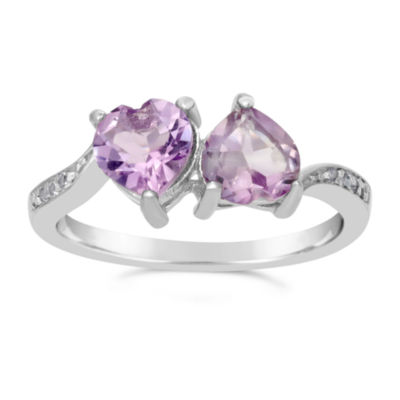 Womens Genuine Purple Amethyst Sterling Silver Bypass Ring