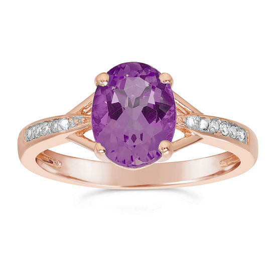 Womens Diamond Accent Genuine Purple Amethyst 14k Gold Over Silver Cocktail Ring